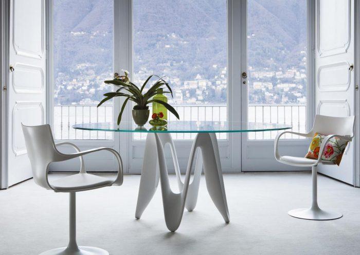 Glass dining table - Lambda by sovet italia - Circular