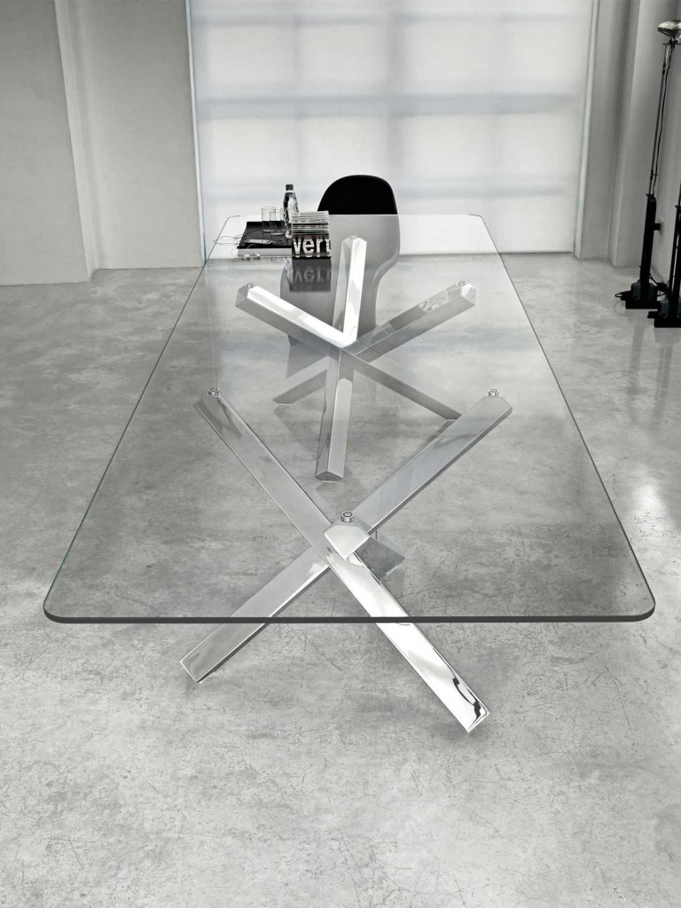 Large Glass Table - Aikido by Sovet italia