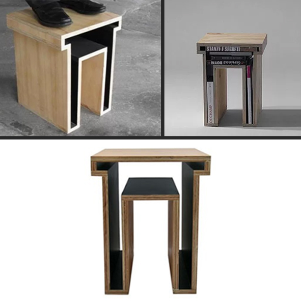 A unique plywood stool that can carry your books and papers.