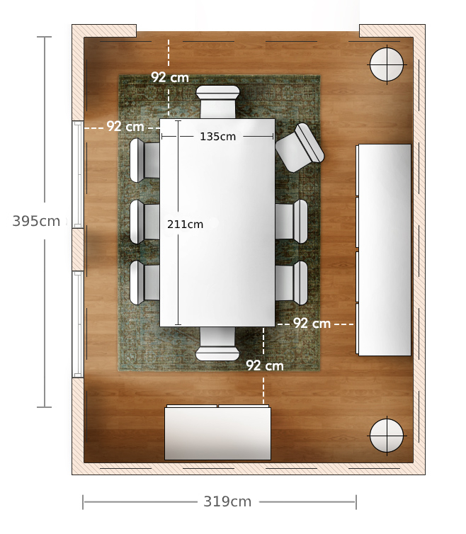 measurement of room for dining table size