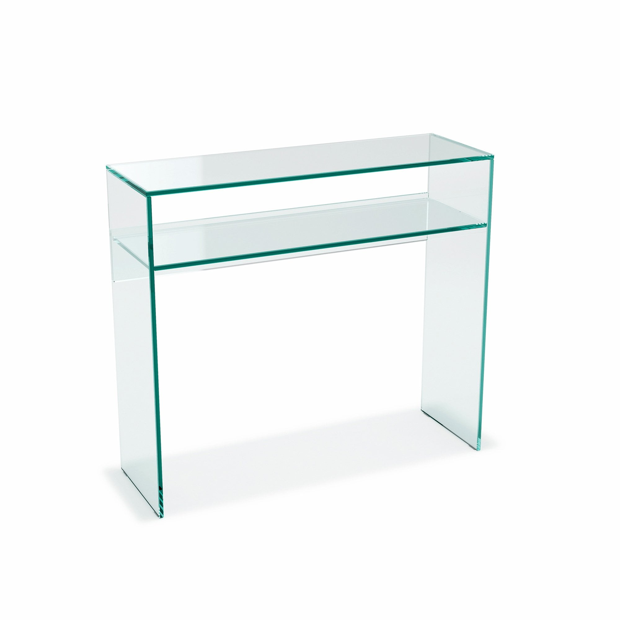 Picture of: Crystal Glass Console Table With Shelf Glassdomain