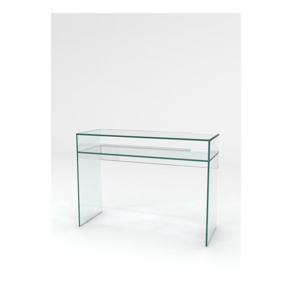 Crystal glass console table 1 shelf
