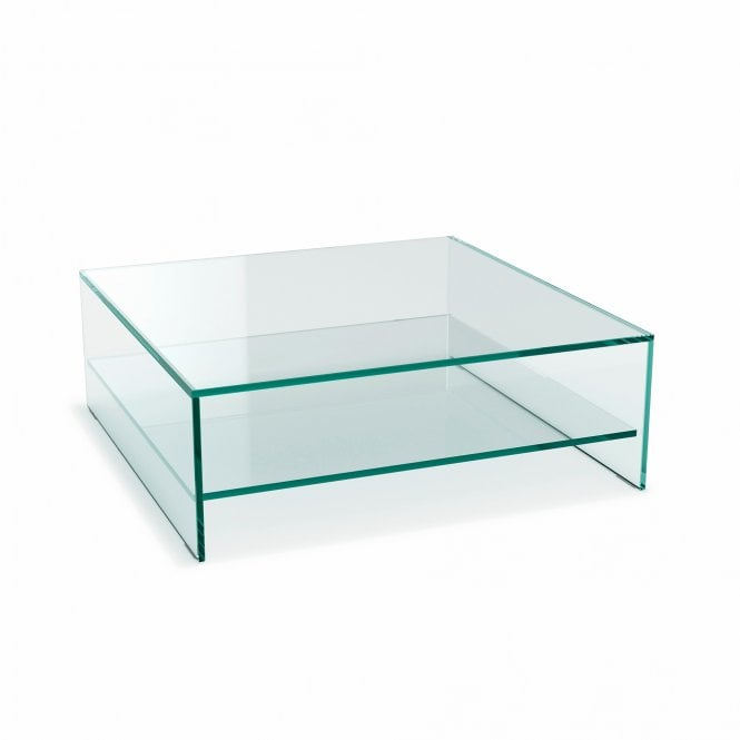 Glassdomain Square Crystal Coffee Table With Shelf
