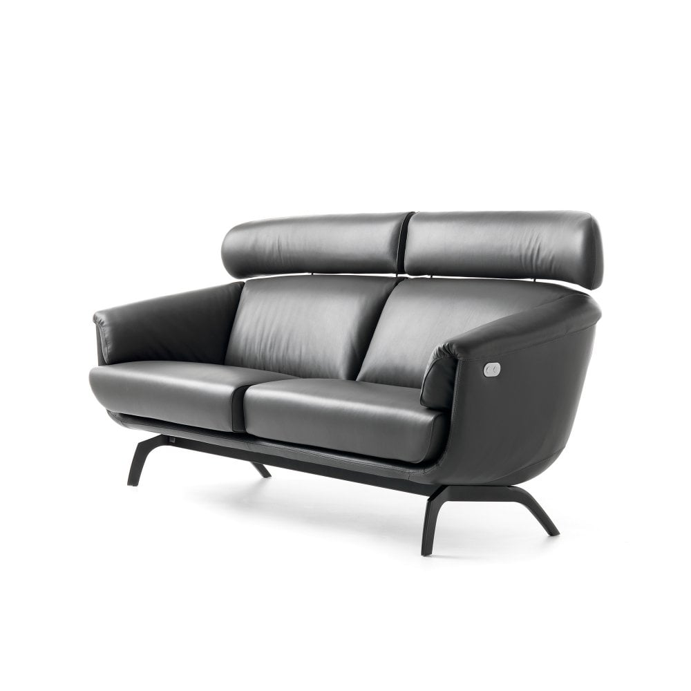 Ascana 3 Seater Sofa - Black Leather - By glassdomain.co.uk