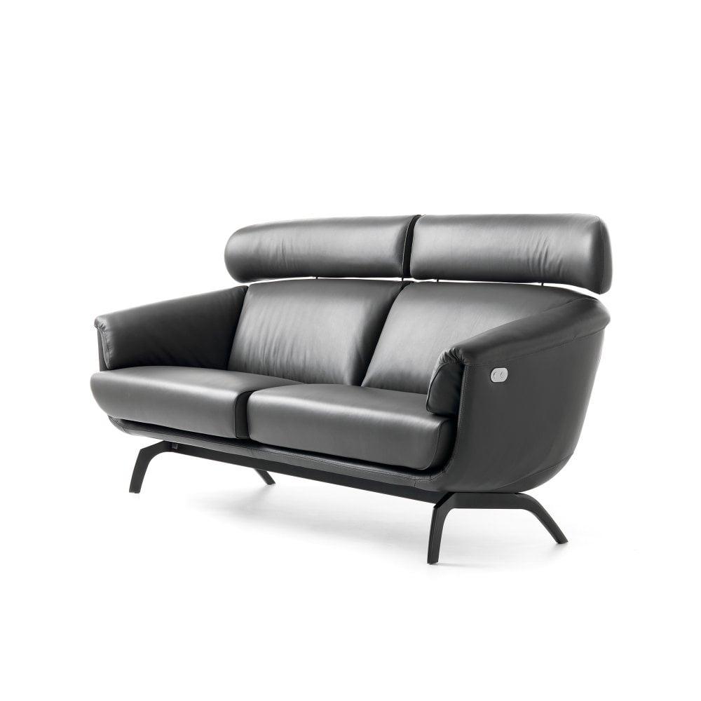 Ascana 3 Seater Sofa - Black Leather