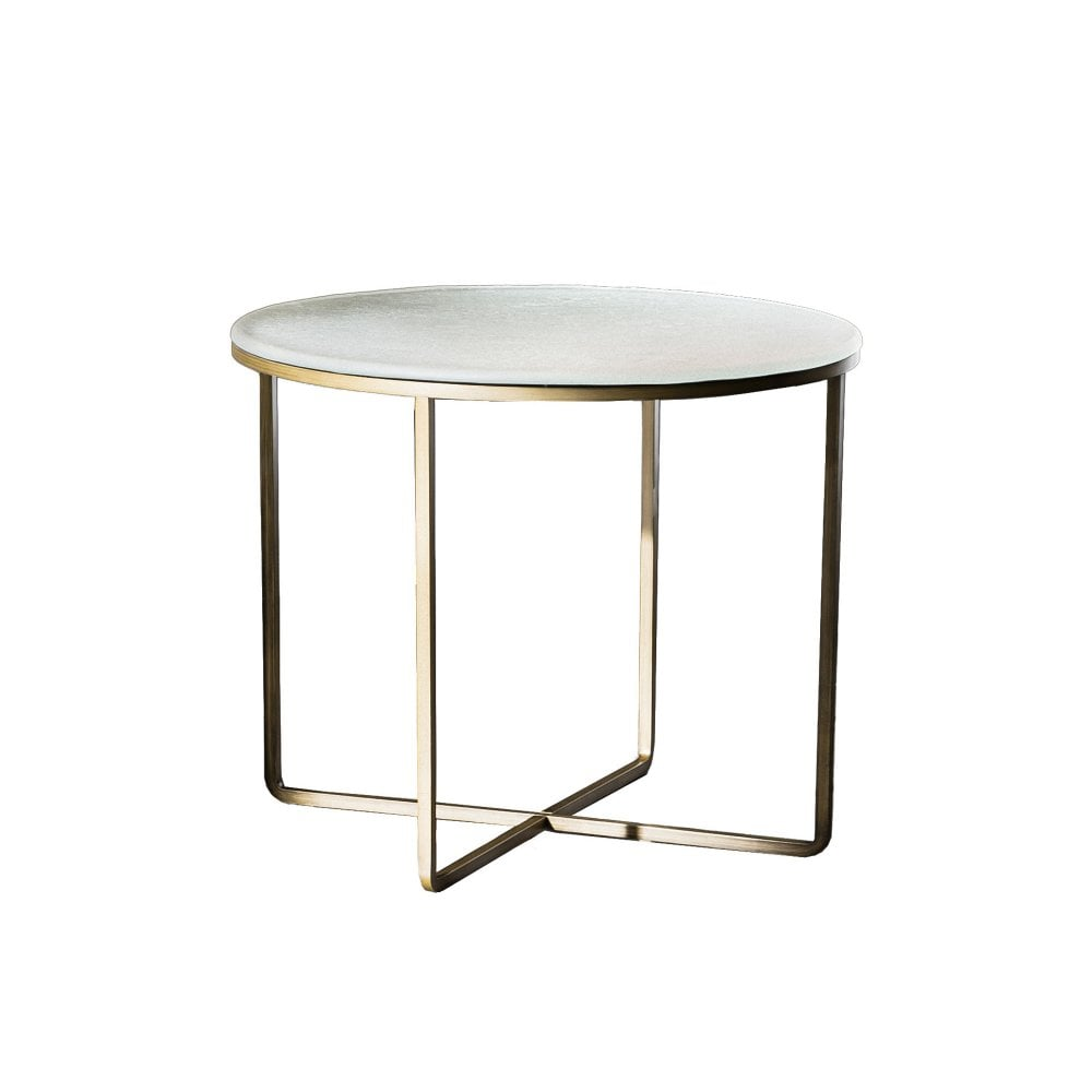 Piktor Coffee Table - White top - Burnished frame - By glassdomain.co.uk