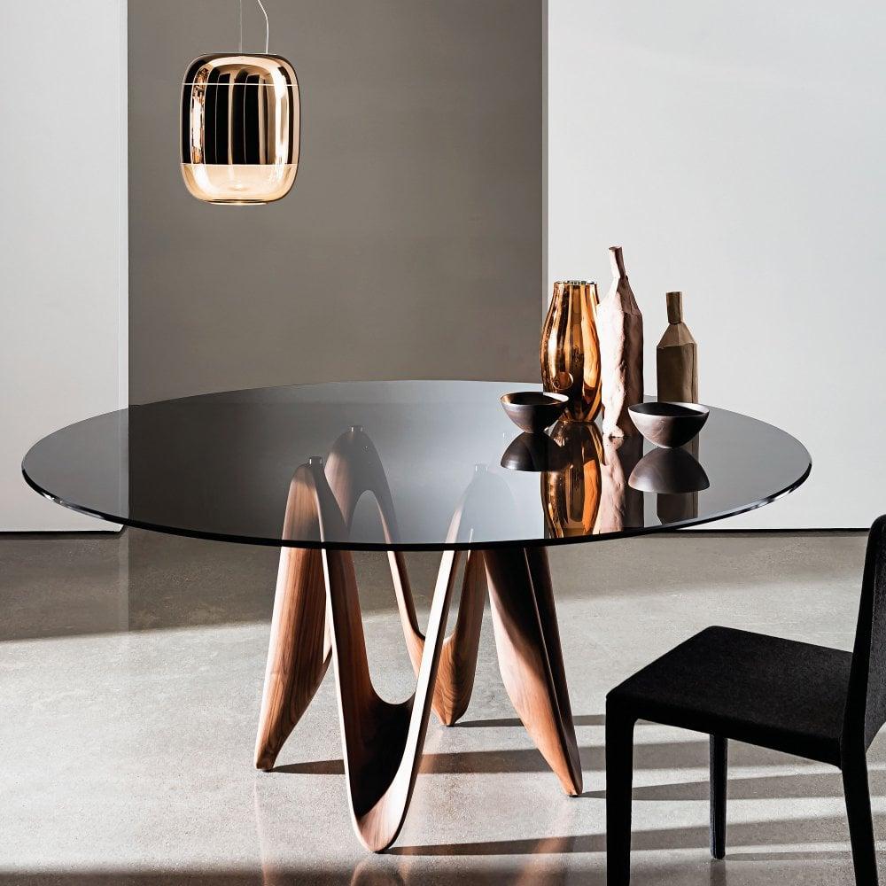 Sovet Italia Round Lambda Dining Table - Walnut Base