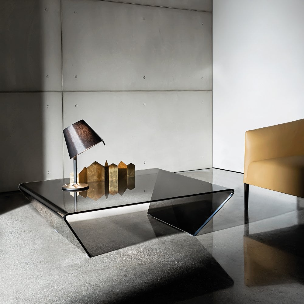 Rubino Coffee Table Smoked Glass By Glassdomain Co Uk