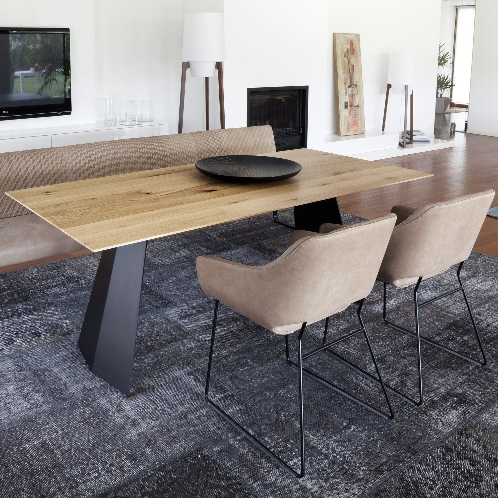 Tonon Steel Dining Table   Oak Top
